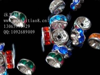 8000611--每包100个--8MM水钻饰品六钻金属垫片--混色