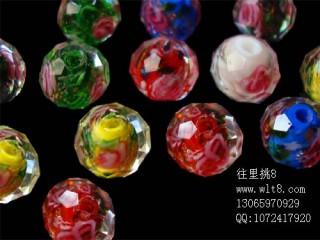 8000934--每包20个12mmA级高档琉璃内切带花--混色