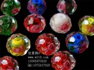 8000936--每包10个14mmA级高档琉璃内切带花--混色