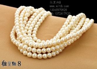 8000883--【每包10条】● 8mm成品玻璃仿珍珠珍珠项链--珍珠色