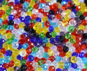 8000999--每包200个--6mm独饰源散珠水晶--混装