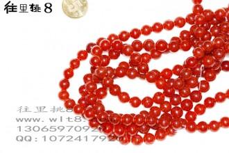 8205080--每条45个8mm酒红色独饰源玉石散珠