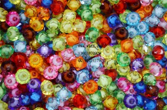 8000122--每包300个10mm仿水晶大孔尖形菱形塑料珠